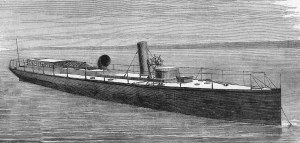 "HMS Lightning - the world's first torpedo boat, 1877. By Author of article credited as ""Mr. Donaldson"" (Scientific American Supplement 7 July 1877) [Public domain], via Wikimedia Commons"