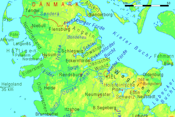 """""""Schleswig-Holstein"""" by Ulamm 19:02, 5 February 2008 (UTC) - http://www.maps-for-free.com. Licensed under CC BY-SA 3.0 via Wikimedia Commons."""